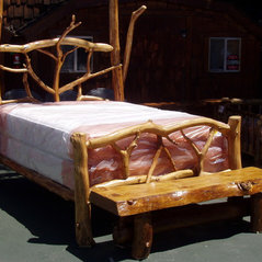 Rustic Queen Bed With Bench