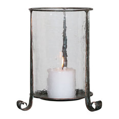 Rustic Bronze Hammered Glass Hurricane Candle Holder, Antique Pillar