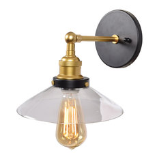 The District Retro Wall Sconce, Black and Gold Finish, Clear Glass Shade