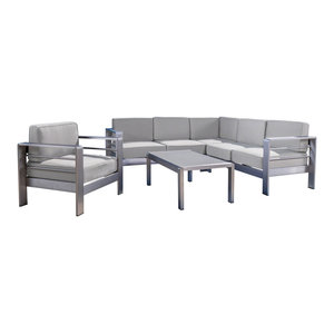 GDF Studio 5-Piece Crested Bay Outdoor Chat Set, Cast Silver