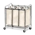 Heavy-Duty 3-Bag Laundry Sorter Cart
