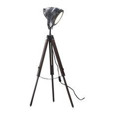 Floor Lamp, Iron, Wood, Tripod