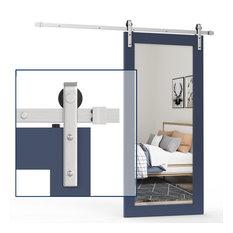 Zekoo Stainless Steel Single Sliding Barn Door Hardware(J shape, no door), 8'