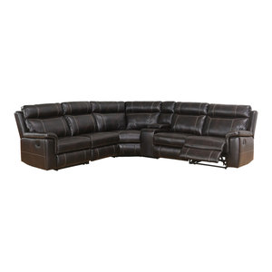 Strange Abbyson Living Dorey Reclining Sectional With Console Black Ibusinesslaw Wood Chair Design Ideas Ibusinesslaworg