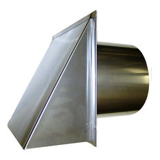 Stainless Steel Exterior Side Wall Cap, 8 Inch, With Damper and Screen