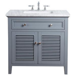 """36"""" Slate Gray Single Vanity Cabinet, Shutter Double Doors Single Sink"""
