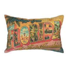 Florida Postcard Linen Pillow