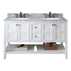 "Winterfell 60"" Double Bathroom Vanity Set, White With No Mirror"