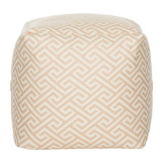 Contemporary Ottoman Patterned Polyester Upholstery With Zipper Pocket Tan