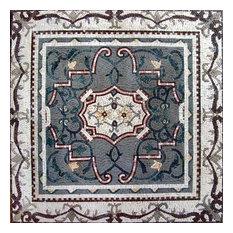 "Mozaico - Ornamental Flower Mosaic, Nadia, 47""x47"" - Tile Murals"
