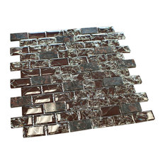 """11.75""""x11.75"""" Cleft Mosaic Tile Sheet, Burgundy and Tan-Brown"""