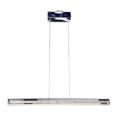 Affluence LED Bar Pendant, Chrome Finish, Crystal Clear Glass Shade