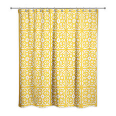 Yellow Tile 71x74 Shower Curtain