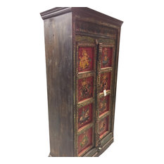 Mogulinterior - Consigned Antique Indian Armoire Maharaja and Ganesha Hand painted Cabinet - Armoires and Wardrobes