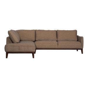 Kendall Modern Sectional Sofa, Oatmeal, Left-Hand Facing
