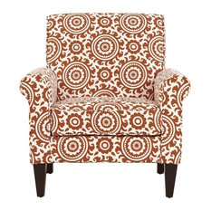Janet Arm Chair, Orange & Cream Medallion