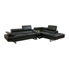 Vetovo Sectional Sofa In Black Bonded Leather With Bluetooth Console