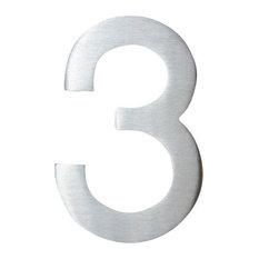 "Modern Classic Address Number, 4"" SoHo Aluminum 3"