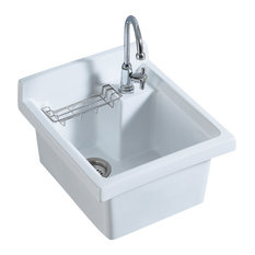 Whitehaus WH474-60 Vitreous China Utility sink with wire basket and off center d