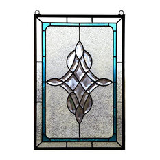 """Tiffany Style Stained Glass Clear Beveled Window Panel 16.5""""x24.75"""""""