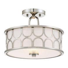 Light Visions - Transitional 2 Light Semi-Flush Mount in Polished Nickel - Flush-mount Ceiling Lighting