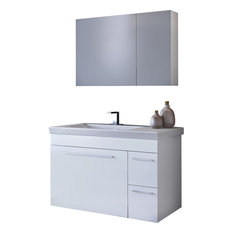 "DP Wall Bath Vanity Cabinet Set 33.5"" Single Sink, White Gloss Lacquer Finish"