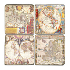Tumbled Marble Coaster St/4 With Coaster Stand, World Maps
