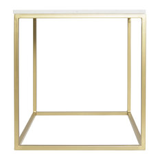 """Marble Square Accent Table, White, 18""""x18""""x20"""""""