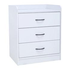 Haifa White Wood Contemporary 3 Drawer Storage Bedroom Chest