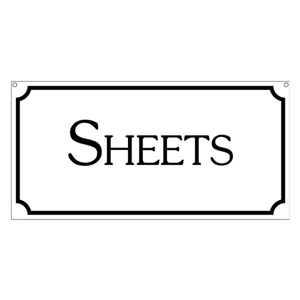 Sheets, Aluminum Sign Bedroom Laundry Retail Sign, 6