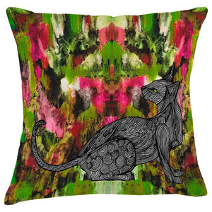 Paradise Velvet Cushion, Multicolour Cat