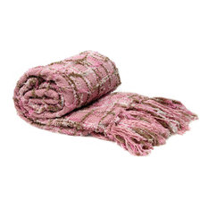 Multi Color Chenille Throw, Light Pink