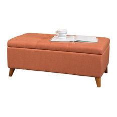 Bon GDFStudio   Etoney Contemporary Fabric Storage Ottoman, Orange    Upholstered Benches