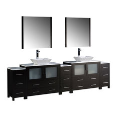 "108"" Espresso Double Sink Bathroom Vanity, 3 Side Cabinets and Vessel Sinks"