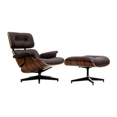 Modern In Designs Midcentury Lounge Chair And Ottoman Aniline Leather Brown Palisander
