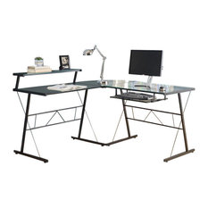 Monarch   Monarch Glass Top Metal L Shaped Computer Desk In Black   Desks  And Hutches
