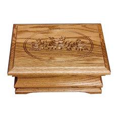 Amish ROSES Engraved Desk Oak Jewelry Box With Tray, Mirror Lined