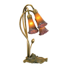 """16"""" Amber and Purple Pond Lily 3-Light Accent Lamp"""