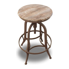 Set of 2 Chester Retro Steel Rotating Adjustable Height Barstool - Fire Brown