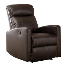 Captivating AC Pacific   Sean Modern Leather Infused Small Power Reading Recliner,  Brown   Recliner Chairs