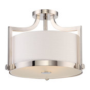 Meadow 3-Light Semi-Flush Mount Fixture With White Fabric Shade, Silver