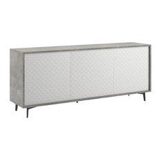 Lenox Buffet-Server, Concrete Grain Melamine Frame, White Pattern Melamine Doors
