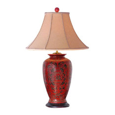 Chinese Red Lacquer Porcelain Vase Table Lamp Shade and Finial 30""