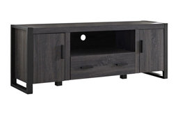 "60"" Ash Gray Wood TV Stand Console, Charcoal"