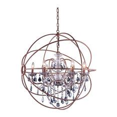 Elegant Furniture Lighting Foucaults Orb Crystal Chandelier 6 Lights Medium Size Rustic