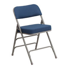 Flash Furniture Hercules Upholstered Metal Folding Chair in Navy Blue and Gray
