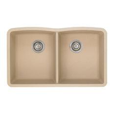 """BLANCO - Blanco 441223 19.25""""x32"""" Granite Double Undermount Kitchen Sink, Biscotti - Kitchen Sinks"""