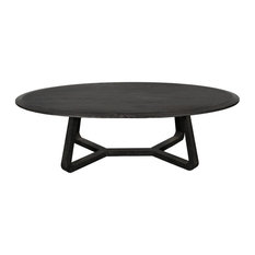 54-inch L Coffee Table Charcoal Finished Solid Oak Wood Contemporary Rustic