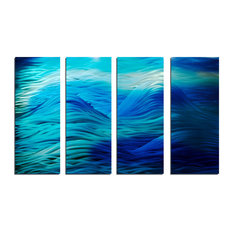 """Caribbean"" 36""x""63 Metal Wall Art Abstract by Miles Shay, 4-Piece Set"