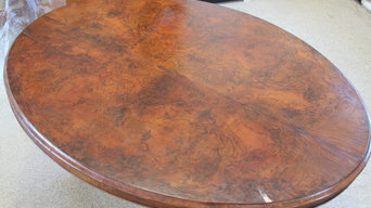 Antique Burl Tilt Top Table - Before